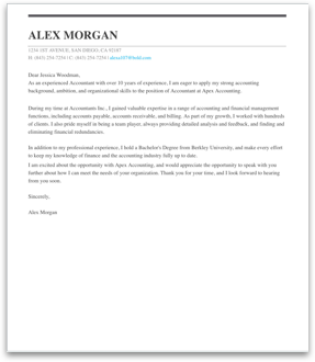 Cover letter examples resume builder with examples and templates accountant cover letter sample altavistaventures Gallery