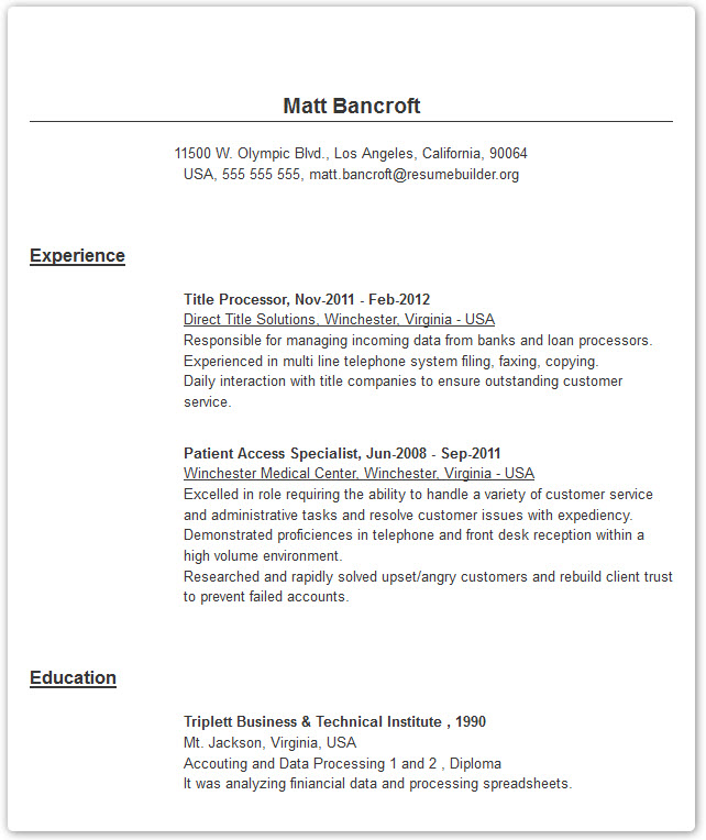 Resume Builder With Examples And